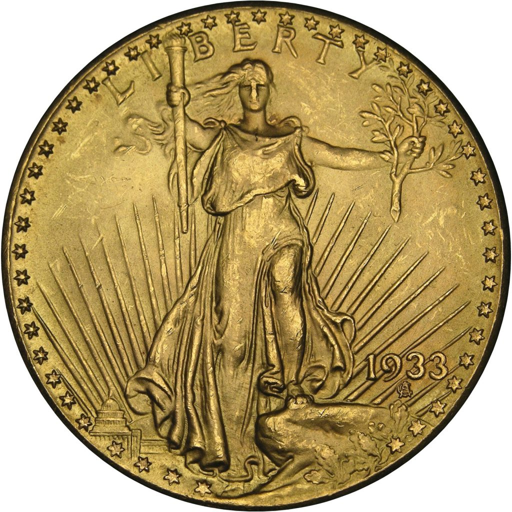 Double Eagle 1933 Gold Coin United States Currency Back Side Liberty Lady Liberty