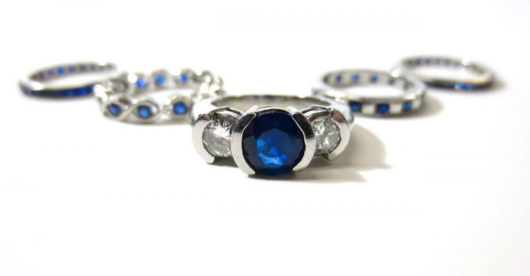 Platinum rings with sapphire stones in the middle